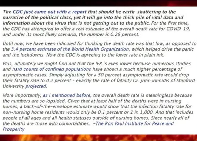 CDC ADMITS CV ANTIBODY TESTS, WRONG HALF THE TIME + THE OUTBREAK ISN'T THAT DEADLY! HUH, FANCY THAT!
