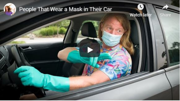 People that wear a face mask in their car