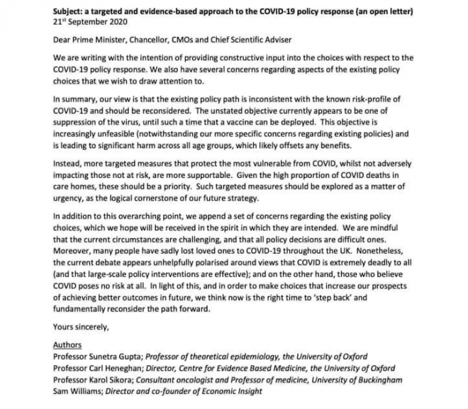 A Targeted and Evidence-based approach to the COVID-19 policy response (an open letter) 21st September 2020