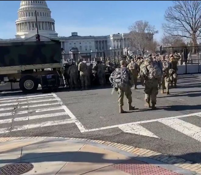 Thousands of additional US National Guard just arrived at the US Capitol with racks of M4 rifles, gear.