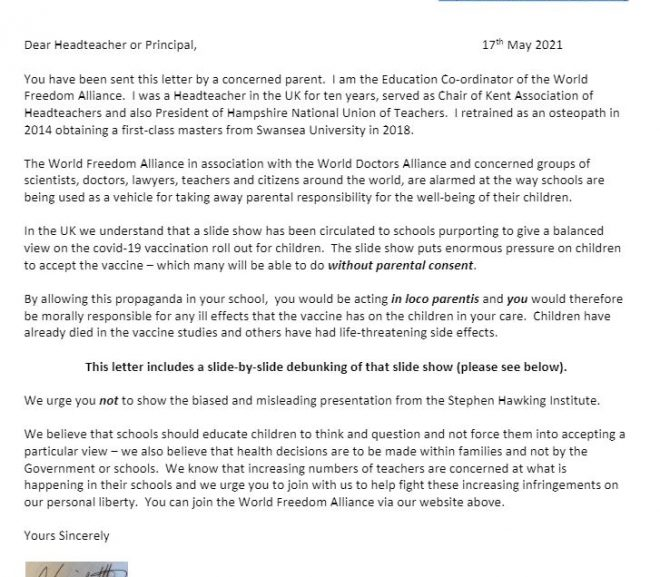 """Letter for concerned parents to send to their children's school re the COVID """"vaccine""""."""