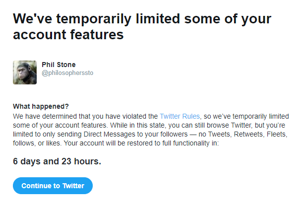 Just starting a 7 day Twitter Ban…