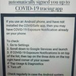 Android users BEWARE, google automatically signed you up to COVID-19 tracing app
