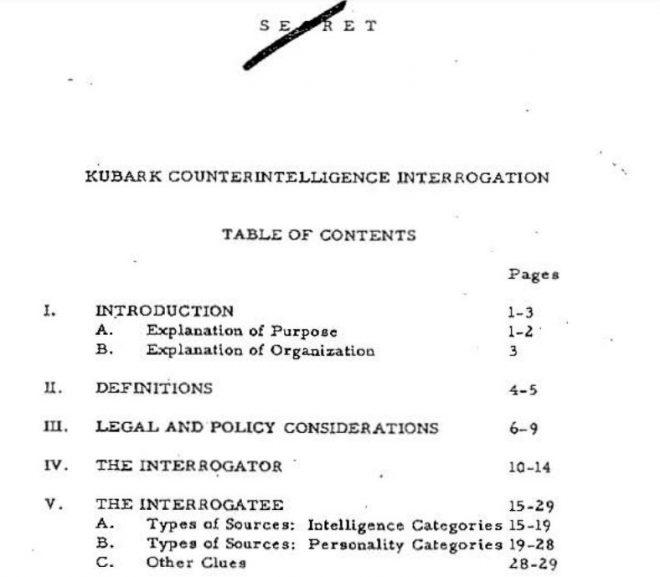 KUBARK COUNTER INTELEGENCE INTERROGATION