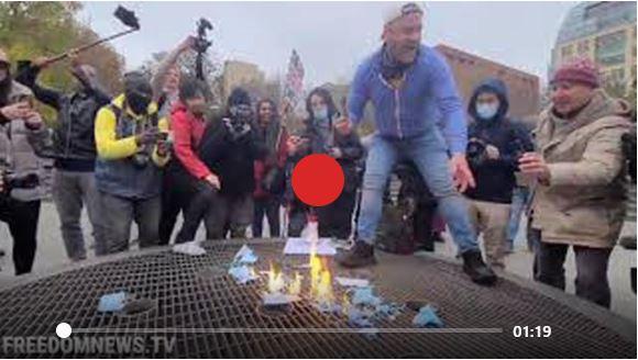 PROTESTORS IN NYC BURN MASKS AGAINST ANTI LOCKDOWN MEASURES