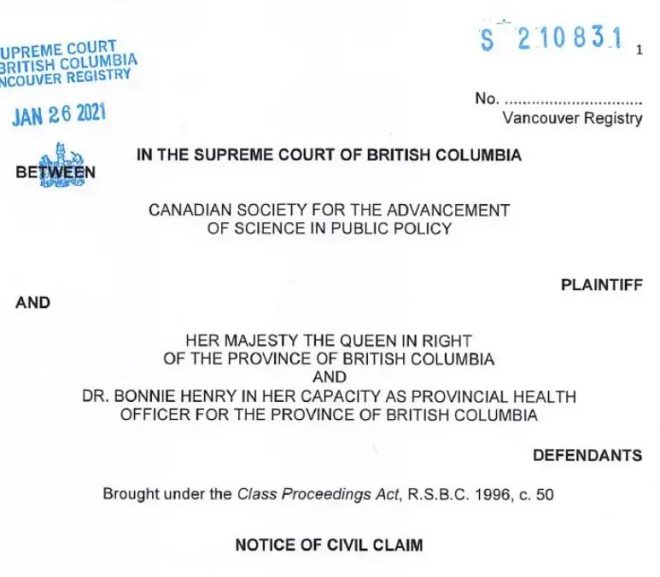 CANADA Notice of Civil Claim In the Supreme Court of British Columbia