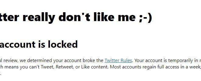 Twitter really don't like me ;-)