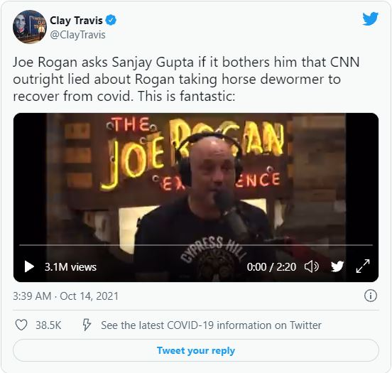 Joe Rogan asks Sanjay Gupta if it bothers him that CNN outright lied about Rogan taking horse dewormer to recover from covid. This is fantastic: